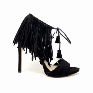 Zara Basic Collection Black Fringe Heels